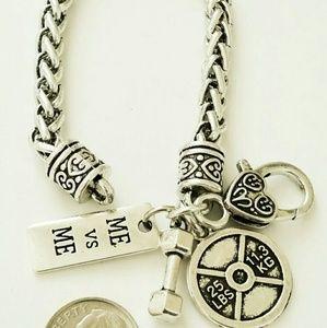 Jewelry - Me against me barbell dumbbell bracelet